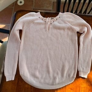 Lulus Welcome Home Peach Lace-Up Sweater